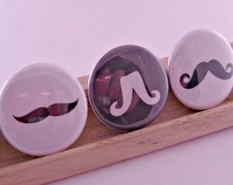 Mustache Moustache Madness Kitsch 1 Inch Button Pins Pinbacks Backpack Pins