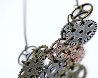 Steampunk  Industrial Gears Necklace Pendant on 16 Inch Chain with Two Inch Extender
