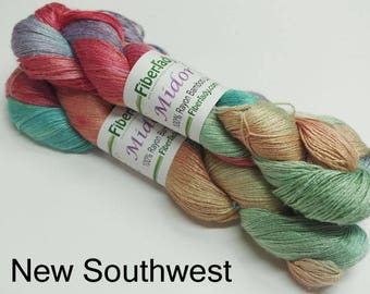 Hand painted Midori Bamboo yarn, 4 oz, New Southwest