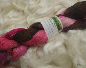 Hand painted Chiku Bamboo yarn, 4 oz, Strawberry Fudge Sundae