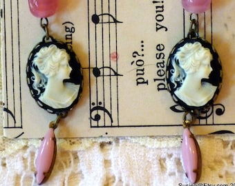 Pink beads Cameo Lady Earrings