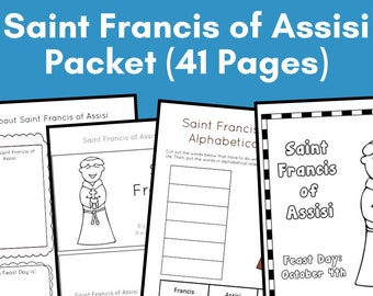 Saint Francis of Assisi Printables Activity Packet - Instant Download