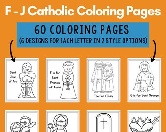 Catholic Coloring Pages for Kids: Letters F - J (60 Pages)