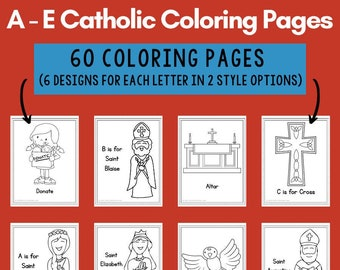 Catholic Coloring Pages for Kids: Letters A - E (60 Pages)