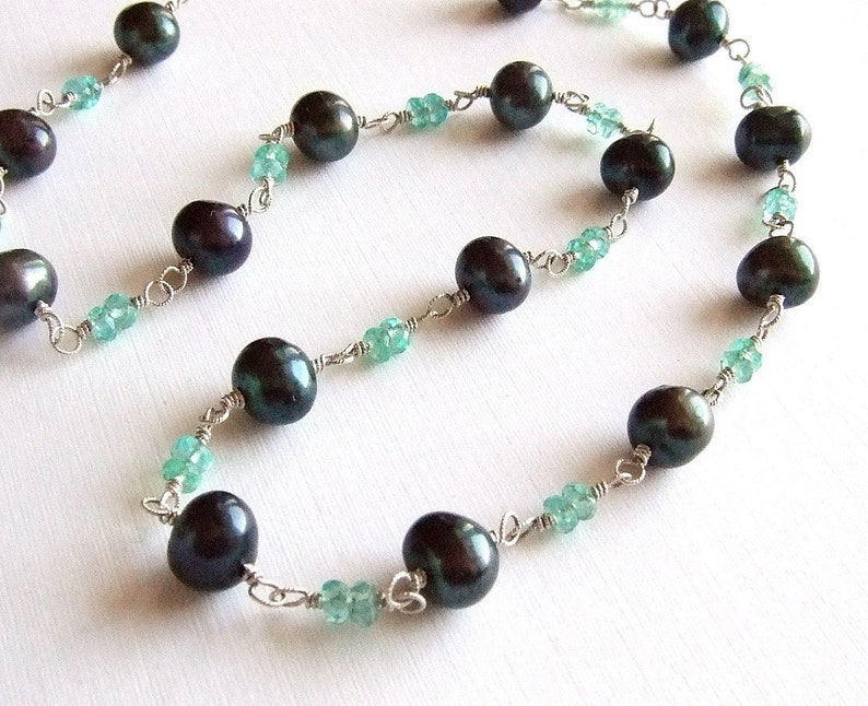 Peacock Black Pearl Necklace in Silver with Turquoise Apatite image 0
