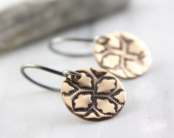 Indian Hand Stamped Bronze Earrings