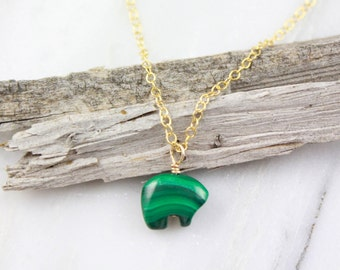 Tiny Malachite Spirit Bear Gold Necklace