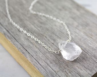 Raw Quartz Nugget Silver Necklace