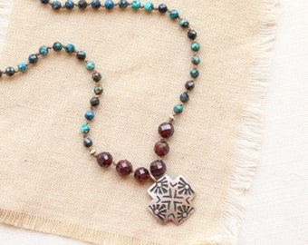 Stamped Sun Cross Chrysocolla and Garnet Necklace
