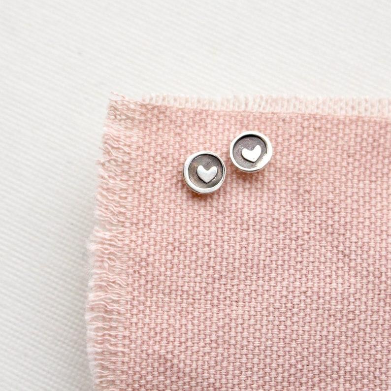 Teeny Tiny Heart Sterling Silver Stud Earrings