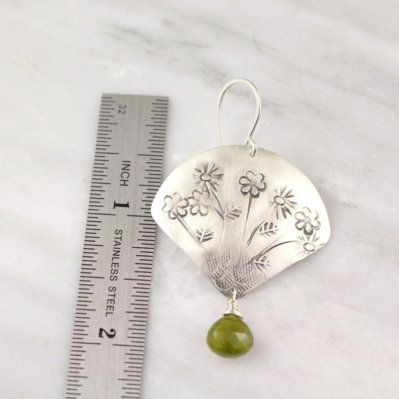 Stamped Wild Flower Fan with Green Garnet Earrings