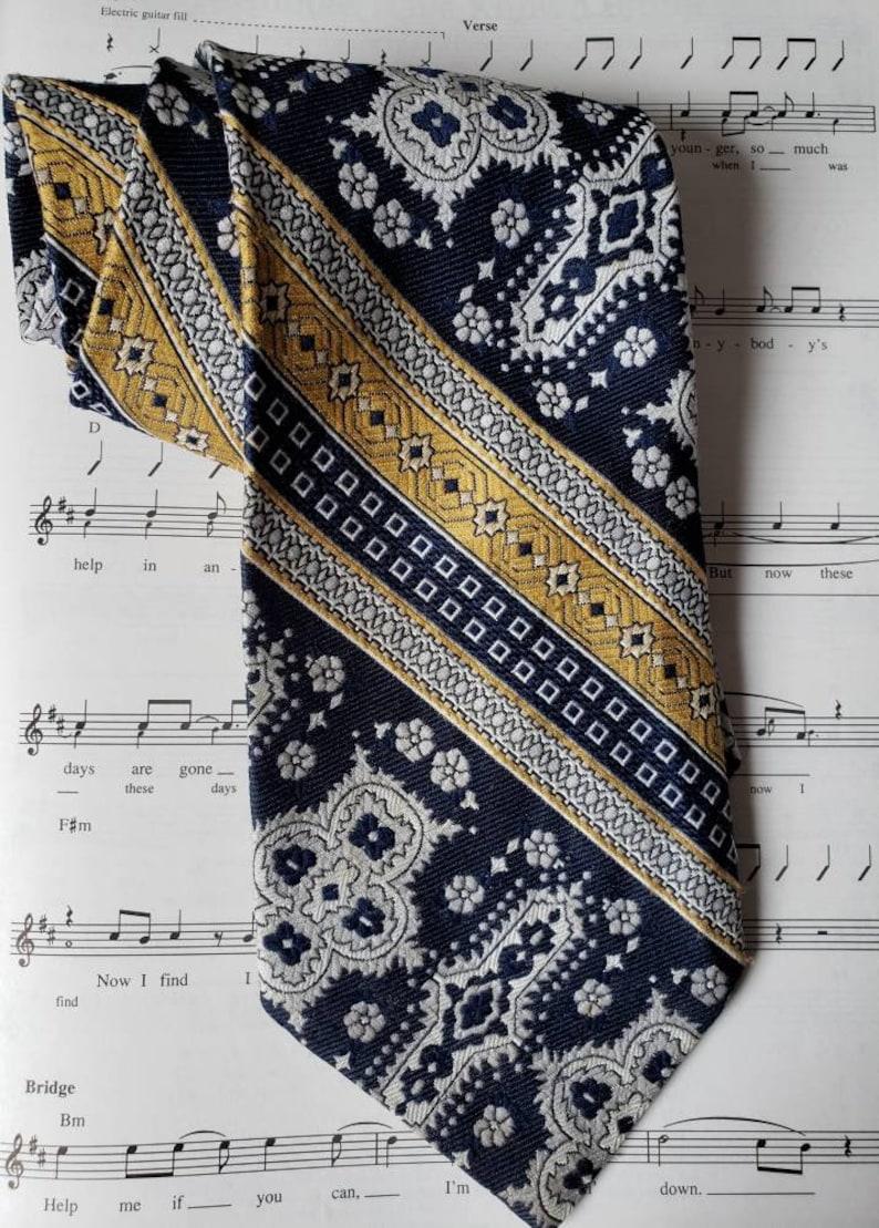 Bonds Blue & Gold 60s Hip Wide Necktie image 0