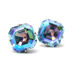 5a4a79d0148 Aqua Blue Flash Crystal Stud Earrings Classic Shimmer AB Sparkling  Aquamarine Turquoise Solitaire Swarovski 10mm Post Copper Imperial Square