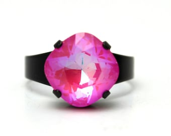 NEON Pink Ring Swarovski Crystal Cocktail Ring Hot Fuchsia Opaque Diamond Sparkle Solitaire You Choose Finish Square Watermelon Rainbow