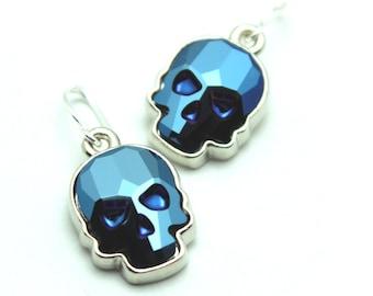 Skull Dangle Earrings Swarovski Crystal Metallic Blue Cobalt Navy Bright Indigo Drop Sterling Silver 14k Gold Filled Spooky Halloween Goth
