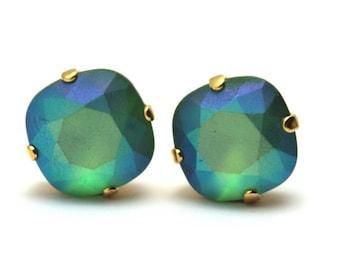 Bright Green Crystal Stud Earrings Classic Sparkling Fern Seafoam Solitaire Swarovski 12mm Sterling Post Copper Soft Rainbow Pastel AB Matte