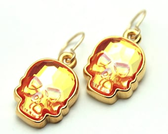 Skull Dangle Earrings Swarovski Crystal Ultra Orange AB Hot Bright Neon Tangerine Drop Sterling Silver 14k Gold Filled Spooky Halloween Goth