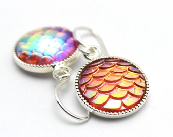 Orangey Pink Mermaid Dangle Earrings Iridescent Orange Yellow Blue Dragon Scales 12mm Sterling Silver Scalloped Round Waves Rain Forest Hot