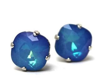 Cobalt Blue Crystal Stud Earrings Classic Sparkling Deep Glowing Periwinkle Cornflower Solitaire Swarovski 10mm Sterling Silver Post Copper