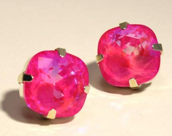 Neon Pink Ultra AB Crystal Stud Earrings Classic Sparkling Fluorescent Hot Summer Solitaire Swarovski Brght Sterling Silver Post Gold Copper