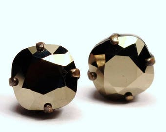 Metallic Gold Crystal Stud Earrings Classic Sparkling Golden Nugget Cushion Pillow Cut Solitaire Swarovski 10mm Sterling Silver Post Copper