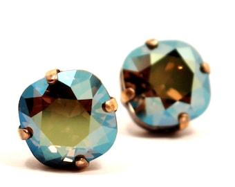 Iridescent Green Crystal Stud Earrings Sparkling Kelly Shamrock Solitaire Swarovski 10mm Sterling Post & Copper Metllic Blue Sage Moss Brown