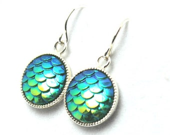 Iridescent Bright Green Mermaid Dangle Earrings Classic Lime Grass Greenery Dragon Scales 12mm Sterling Silver Scalloped Round Waves Seafoam