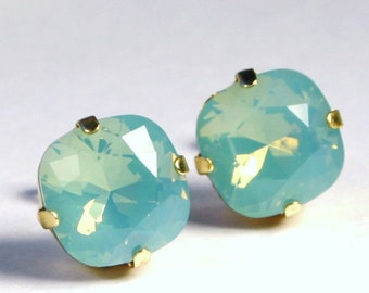 Aqua Green Opal Crystal Stud Earrings Sparkling Teal Mint Seafoam Solitaire Swarovski 10mm 12mm Sterling Post & Gold Women's Jewelry