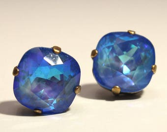 687d19d2e54 Bright Blue Crystal Stud Earrings Classic Sparkling Deep Sapphire Royal  Cobalt Ultra Solitaire Swarovski Indigo Sterling Silver Post Copper