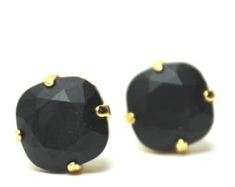 MATTE Jet Black Crystal Stud Earrings Classic Slate Gunmetal Sparkling Solitaire Swarovski Dark Night Sterling Ink Midnight Ebony Obsidian
