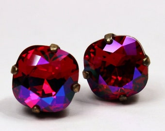 Hot Magenta Pink Crystal Stud Earrings Classic Red Sparkling Siam Cerise Solitaire Neon Swarovski 10mm Sterling Post Copper Women's Jewelry