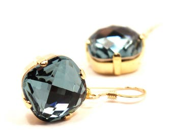Indian Sapphire Crystal Dangle Earrings Classic Sparkling Cadet Blue Gray Solitaire Swarovski 12mm Drop Sterling Silver 14k Rose Gold Filled
