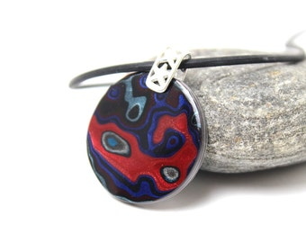 Detroit Fordite Necklace Recycled Vintage Auto Paint Bright Apple Red Blue Metallic Silver Shield Medallion Sterling Etsydudes Bro Dad Blue