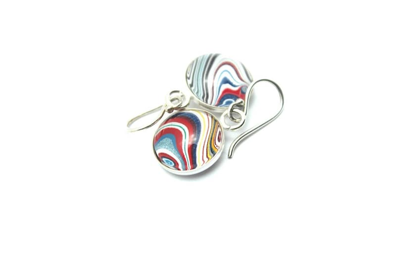 Harley Davidson Fordite Earrings Genuine Bright Red White Blue Swirl Delicate Dangles Sterling Silver Motor City Agate Recycled Pair Matched