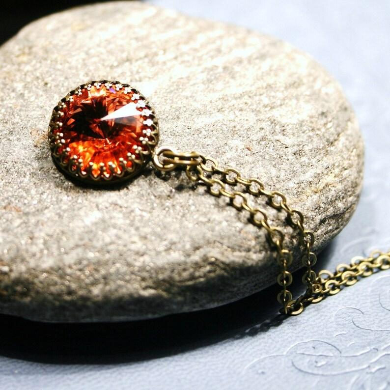 Rose Peach Crystal Necklace Swarovski Antiqued Brass Crown image 0