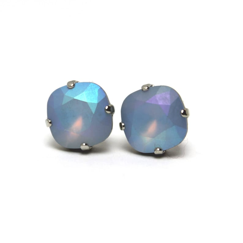 Blue Opal Matte Crystal Stud Earrings Classic Sparkling Pale image 0