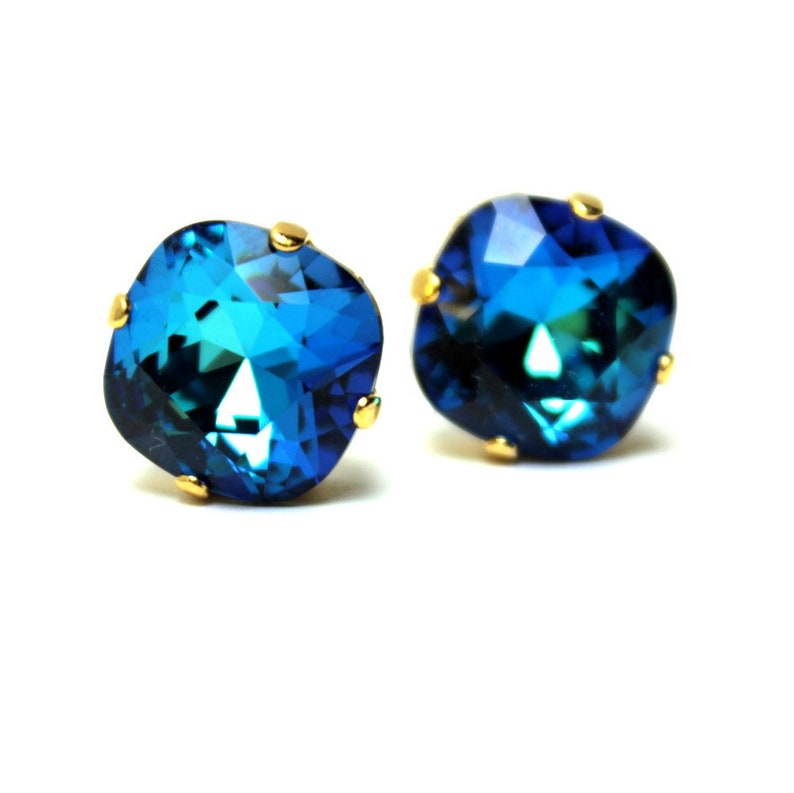 Dark Aqua Crystal Stud Earrings Classic Sparkling Deep Teal image 0
