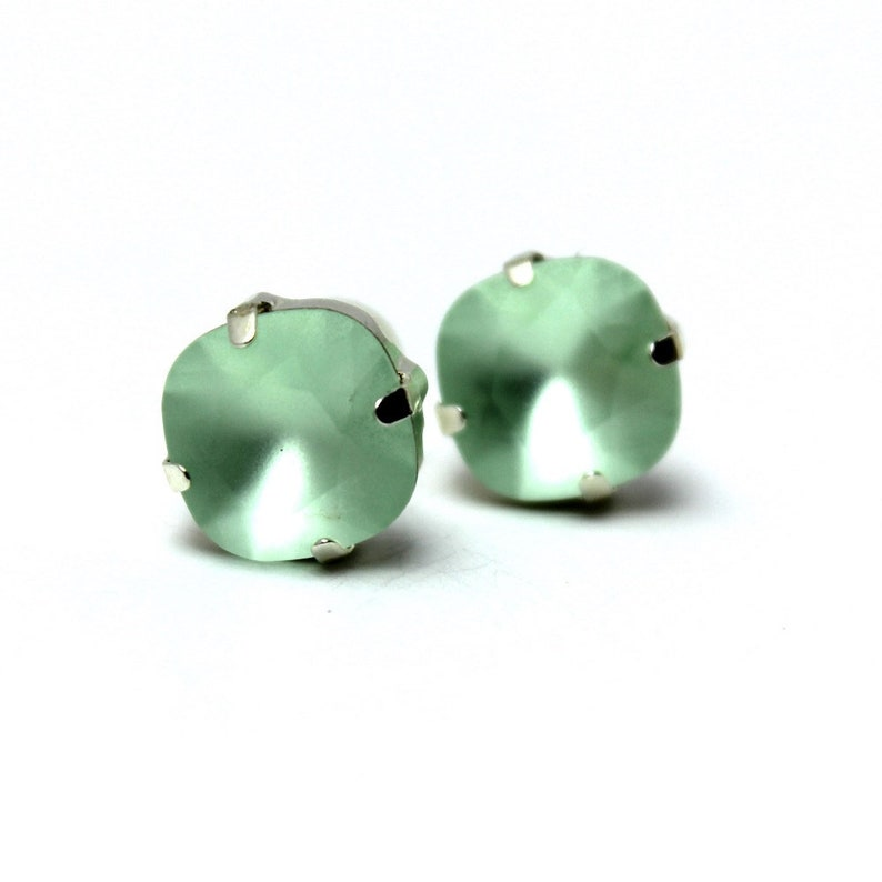 Mint Green Crystal Stud Earrings Classic Matte Kelly Sparkling image 0