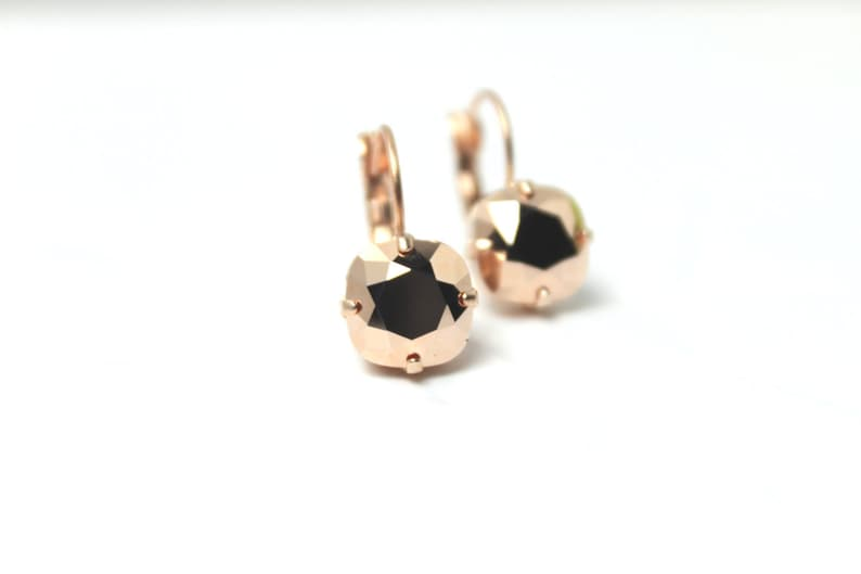 Rose Gold Crystal Drop Earrings Classic Sparkling Metallic image 0