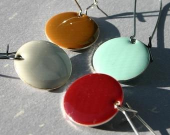 Enamel Disc Earrings SPECIAL SALE U Pick Colorful Epoxy Enamel Circle Dot Two Color Elongated Sterling Silver Drop Choice Choose Rainbow