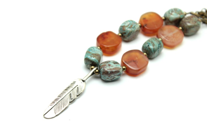 Carnelian & Jasper Feather Necklace Mossy Green Natural image 0