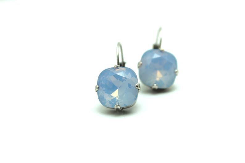 Air Blue Opal Crystal Drop Earrings Classic Sparkling Sky Baby image 0