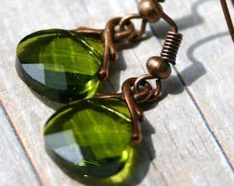 Olive Green Crystal Earrings Mossy Olivine Swarovski Flat Briolette Drop Warm Rustic Copper Simple Dangle Earthy Woodland by walkonthemoon