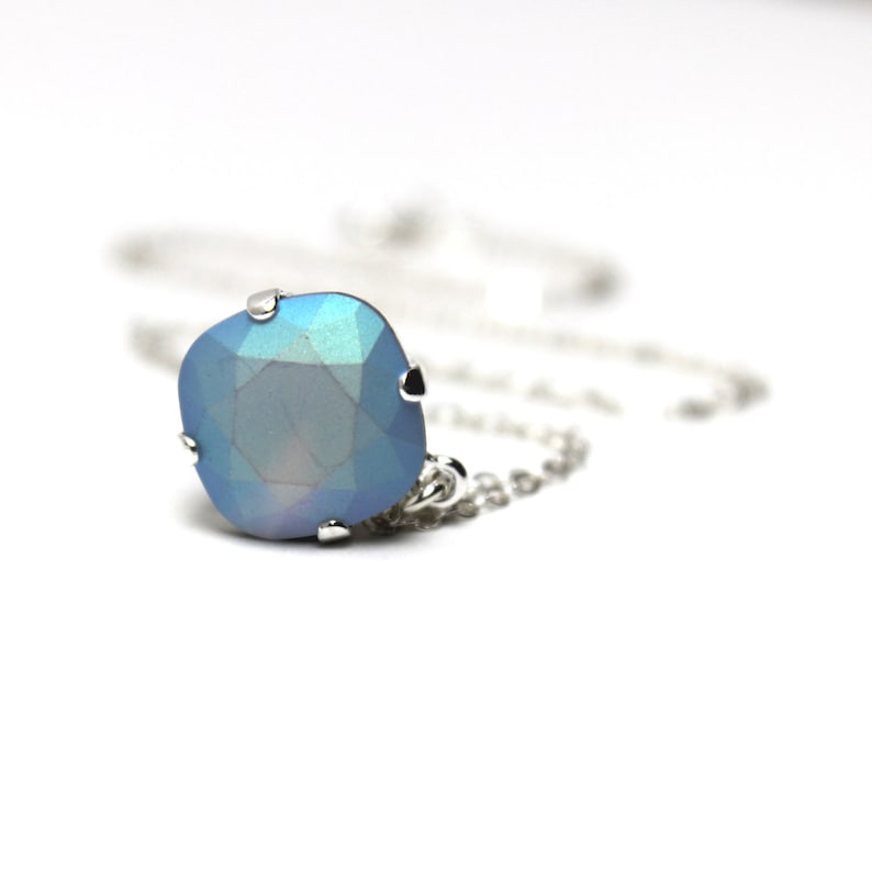 Baby Blue Frosted Crystal Necklace Classic Sparkling Solitaire image 0