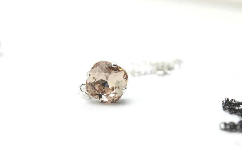 Light Peach Crystal Necklace Silk Salmon Pastel Solitaire image 0