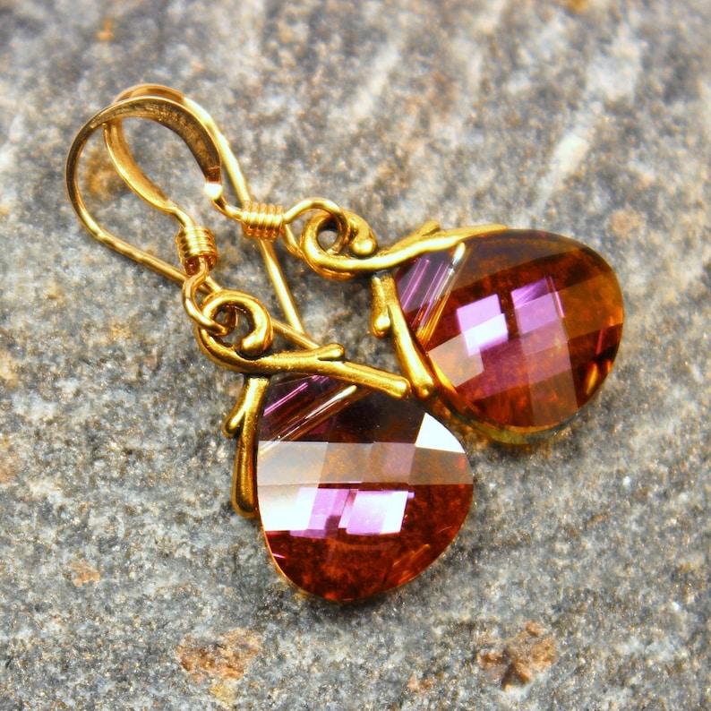 Pink Orange Crystal Earrings 14k Gold Filled Mahogany image 0