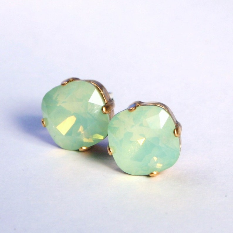 Mint Green Opal Crystal Stud Earrings Classic Sparkling image 0