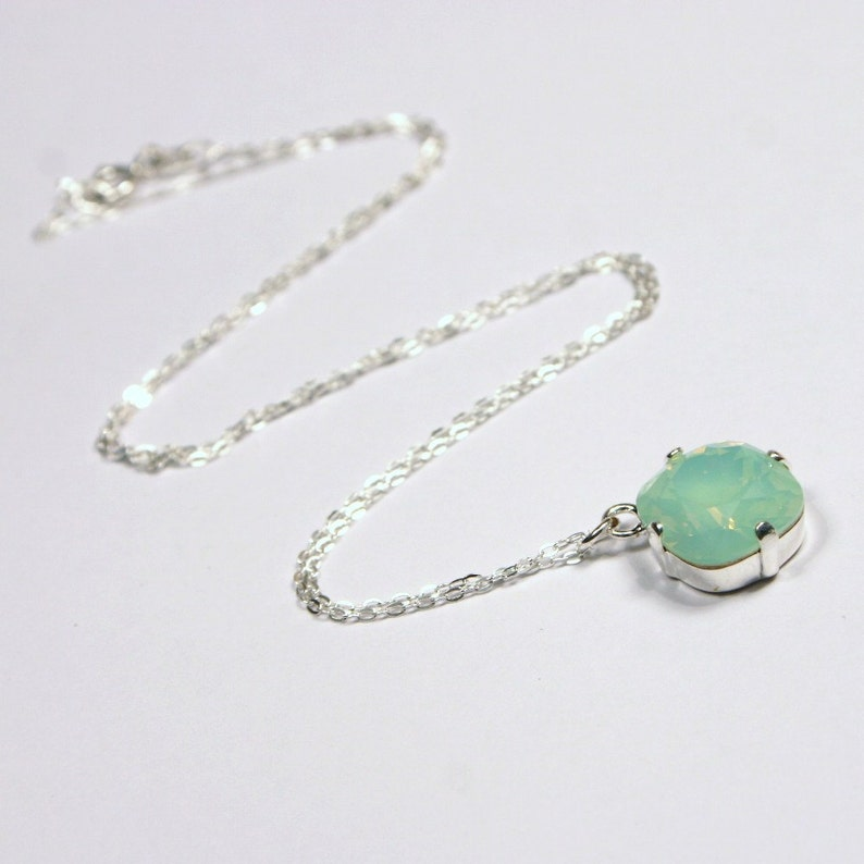 Mint Green Opal Crystal Necklace Classic Sparkling Seafoam image 0