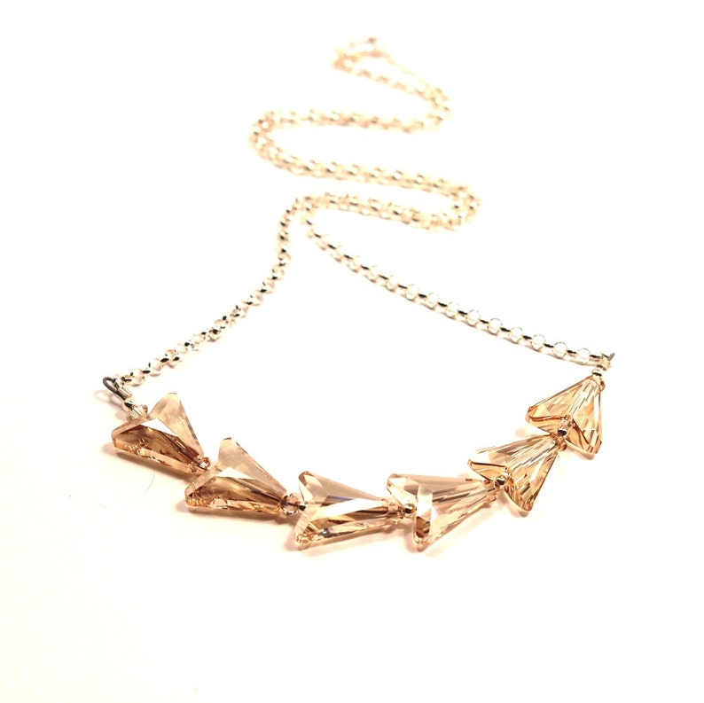 ae4e2d756b040 Golden Arrows Necklace Chasing Chevron Swarovski Crystal Golden Shadow Gold  Sterling Silver Simple Chain Sophisticated Bow & Arrow Circlet