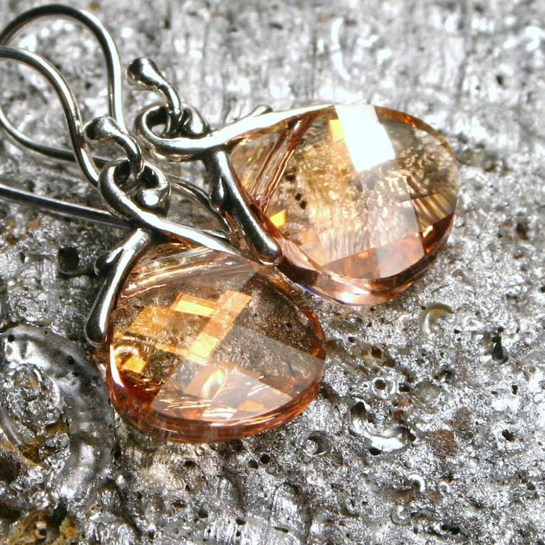Peach Crystal Earrings Pink Champagne Swarovski Flat Briolette image 0